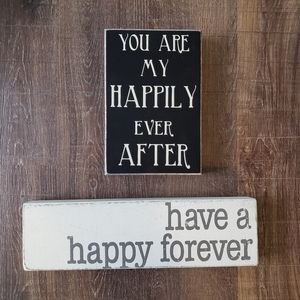 'Happy Forever' Block & Wall Sign Set of 2